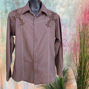 📌Roar Embroidered Brown - Black Western Shirt